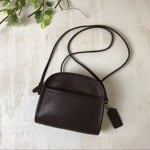 COACH Dark Brown Vintage Mini Leather Shoulder Bag